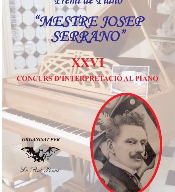 Lo Rat Penat organisa el XXVI Concurs de Piano 'Mestre Josep Serrano' 2021